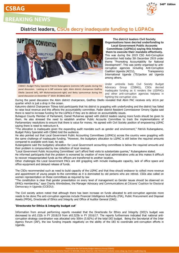thumbnail of CSBAG NEWS UPDATE_ District leaders, civil society decry inadequate financing to LGPACs-5th dec 2019