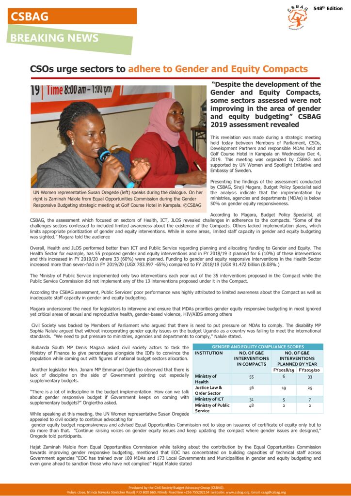 thumbnail of CSOs urge sectors to adhere to Gender and Equity Compacts