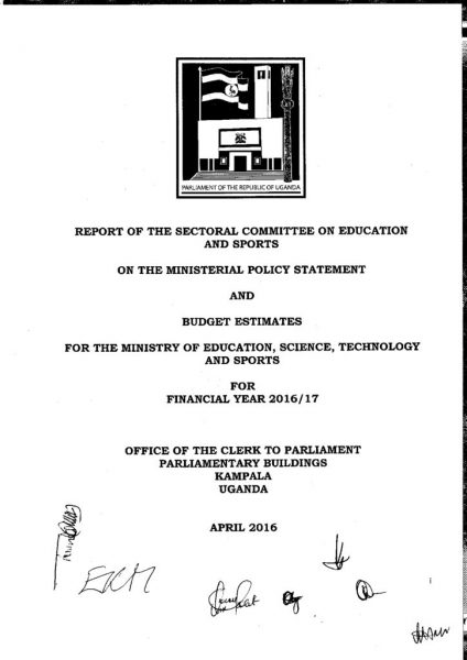 Parliamentary Committee Report On Education And Sports On The Ministerial Policy Statement And Budget Estimates FY 2016/17
