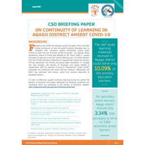 CSO Briefing Paper on continuity of learning in Agago District Amidst COVID-19