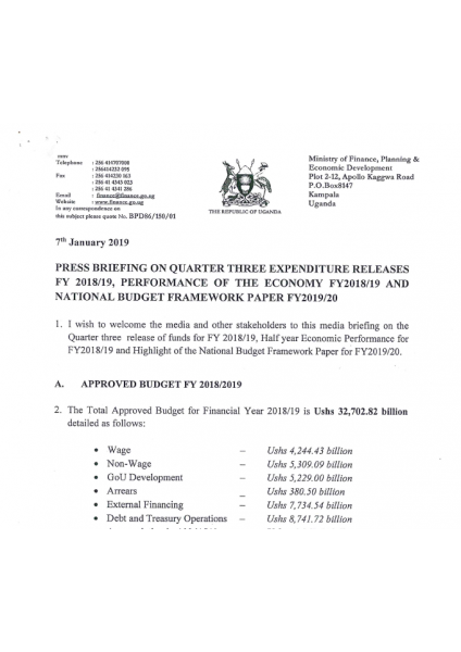 Press Release On Quarter Three Expenditure Released FY 2018/19 And Performance Of The Economy FY 2018/19 And NBFP FY 2019/20