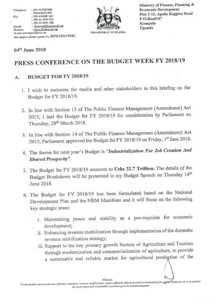 Press Statement On The Budget Week FY 2018-19