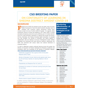 CSO Briefing Paper on continuity of learning in Sheema District Amidst COVID-19