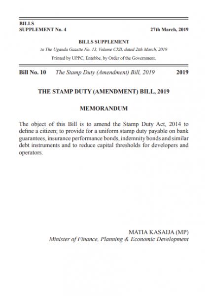 The Stamp Duty (Amendment) Bill,2019