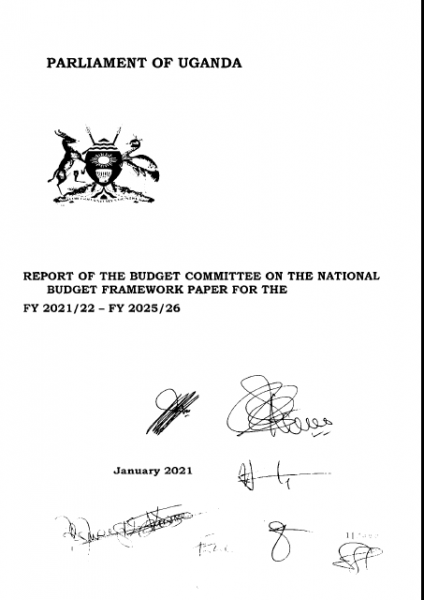 Report of the Budget Committee on the National Budget Framework paper FY 2021/22