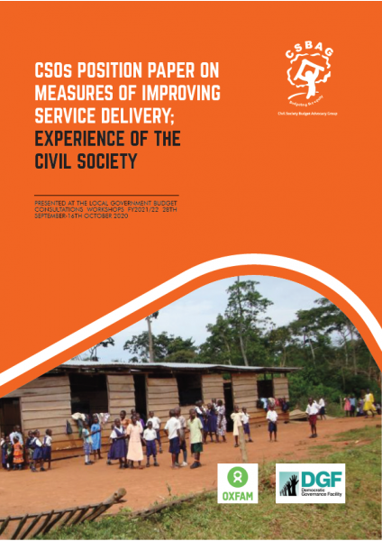 CSOs Position Paper on Measures of Improving Service Delivery; Experience of The  Civil Society
