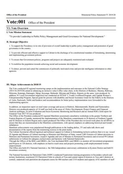 Consolidated Ministerial Policy Statement FY 2019/20