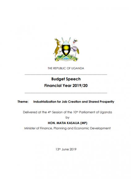 Budget Speech Financial Year 2019/20