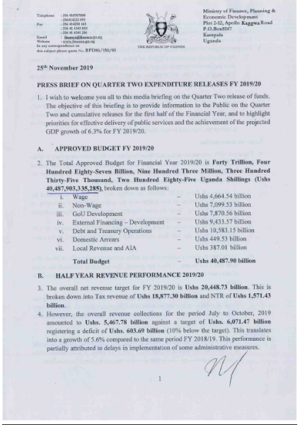 Press Release On Quarter 2 Expenditure Releases FY2019/20