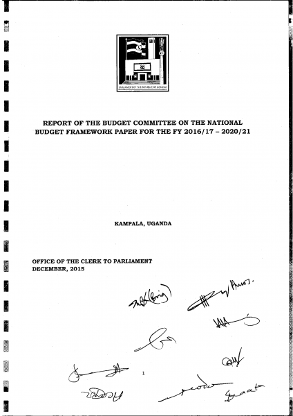 Parliamentary Committee Report On The National Budget Framework Paper For The FY2016/17-2020/21